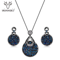 Viennois Blue Crystal From Swarovski Women Jewelry Sets Fashion Rhinestone Pendant Earrings And Necklace Sets For