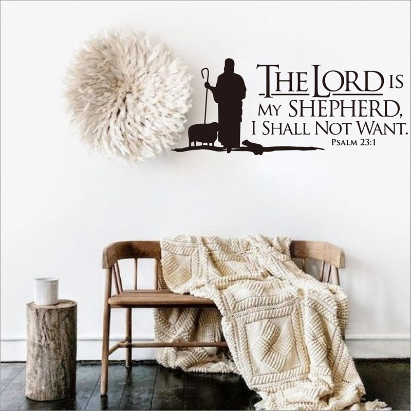 Psalms 23 The Lord Is My Shepherd Wall Lettering Mural Vinyl Decals Bible Verse Wall Art Vinyl Stickers Christian Aliexpress