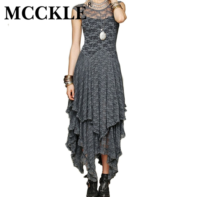 MCCKLE Women's Boho People Hippie Style Irregular Lace Dresses Sexy Long Dress Double Layered Ruffled Trimming Low O-Back N