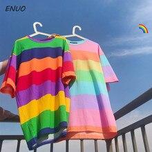 New T Shirt Women Rainbow Striped Tops Harajuku Tshirt 2019 Summer Short Sleeve Korean Punk T-shirt Loose camiseta feminina