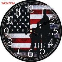WONZOM American Flag Projekt Duży Zegar Ścienny Milczy Salon dekoracje Ścienne Saat Zegarek Dekoracji Ściany Domu 2017 Reloj De porównaniu