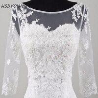 Free Shipping 2016 White Long 3 4 Sleeve Lace Bridal Bolero Jacket Elegant Cheap Tulle Wedding