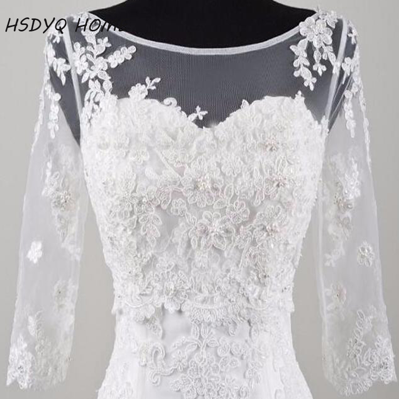 In Stock White Long 3/4 Sleeve Lace Bridal Bolero Jacket Elegant Cheap Tulle Wedding Jackets With Lace Appliques