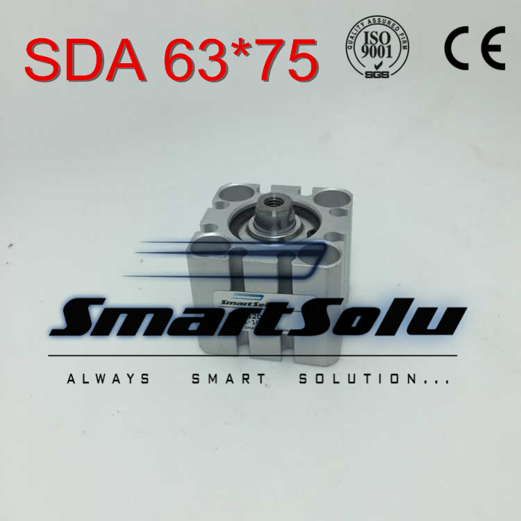Free Shipping SDA 63*75 63mm bore 75mm stroke double acting valve actuator cylinder pneumatic SDA63-75 compact air cylinders