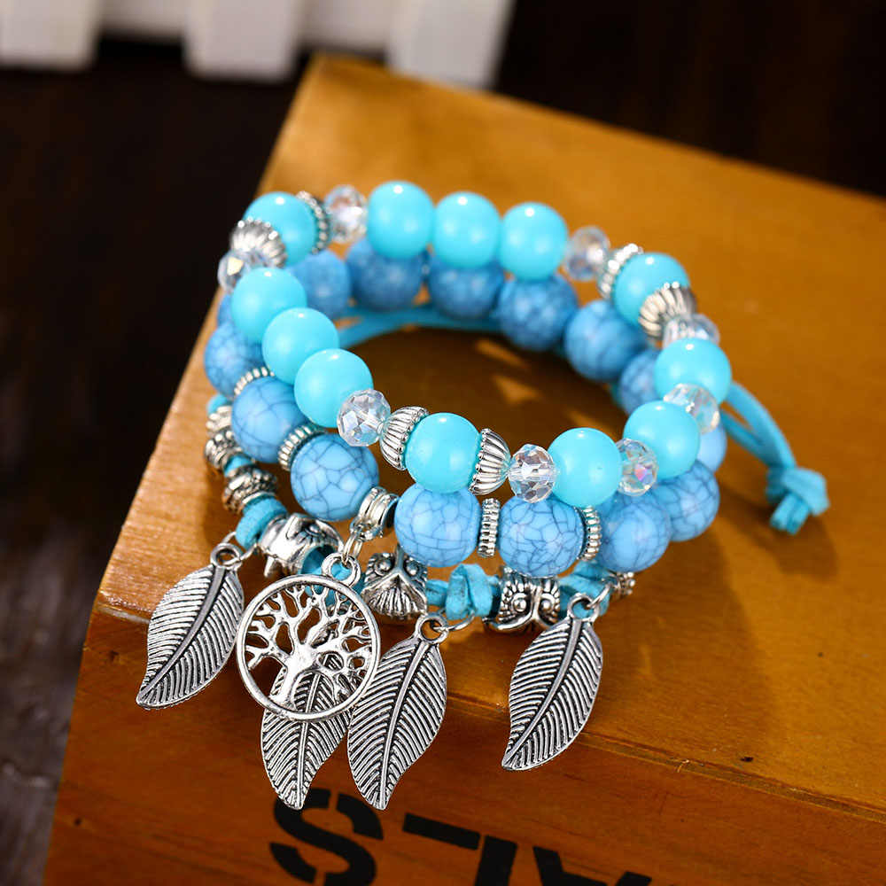 483fdca80afe6 Classic Tree of Life Bracelet Set For Women Multilayer Natural Stone  Vintage Leaf Charms Beads Bracelets & Bangles Jewelry Gifts