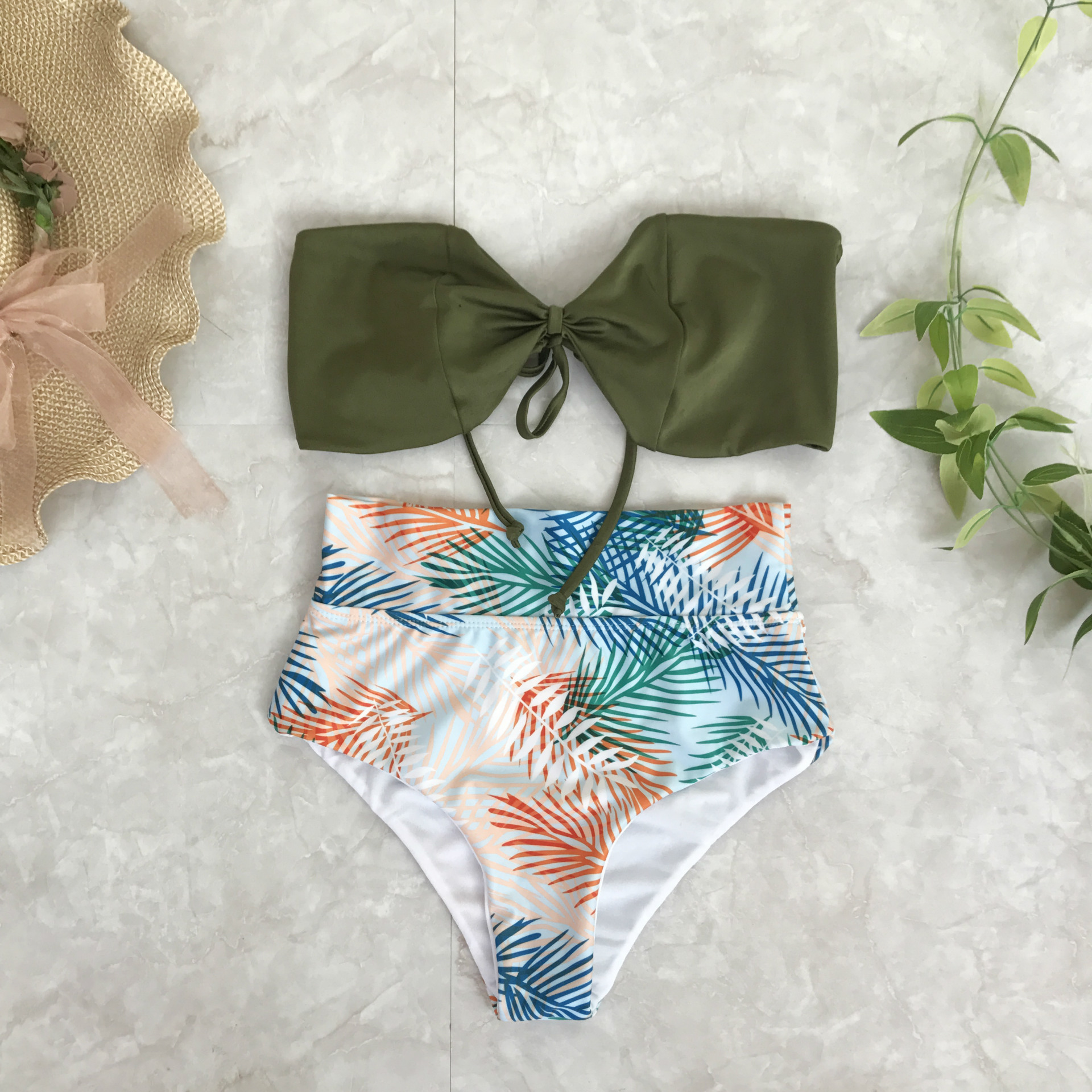 Sexy Floral Print High Waist Swimsuit Bikini Push Up Swimwear Women Vintage Retro Bathing Suit Bandeau Solid Top Lady summer sexy swimsuit vintage high waist bikini retro push up swimwear women plus size bathing suit printed floral bikinis set