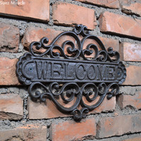 Welcome Sign Wall Plaque Home Garden Outdoor Hanging Decor decorative creative retro shop signs Cast Iron Country Cottage House