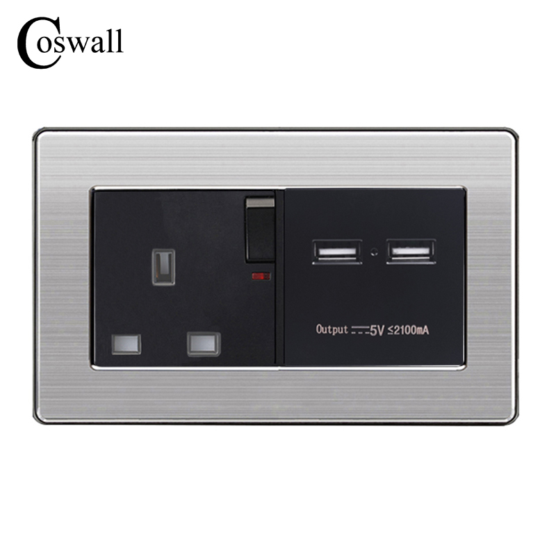 COSWALL Wall Socket UK Standard Power Outlet Switched With Dual USB Charge Port For Mobile 5V 2.1A Output Stainless Steel Panel coswall wall socket uk standard power outlet switched with dual usb charge port for mobile 5v 2 1a output stainless steel panel