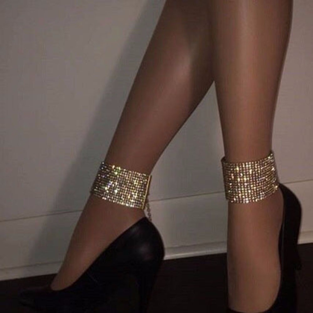 New Punk Sexy Shiny Rhinestone Anklets For Women Ethnic Ankle Chain Foot Jewelry Anklets Turkish Barefoot Party #243963