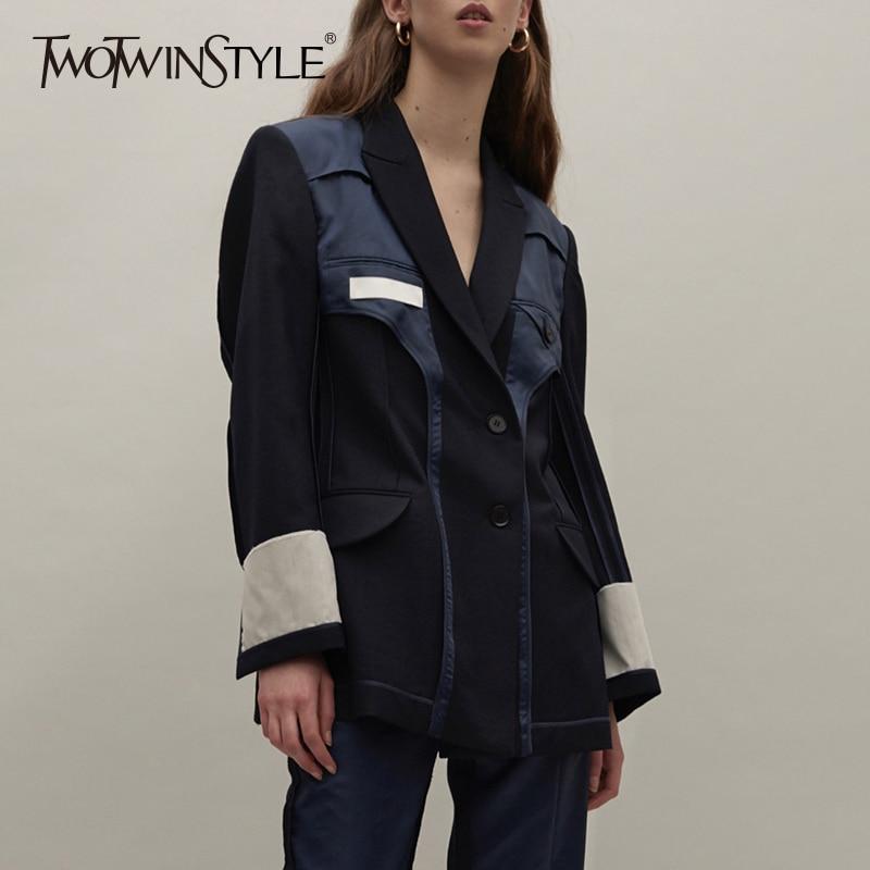 TWOTWINSTYLE Patchwork ผู้หญิง Blazer เสื้อแจ็คเก็ต Lapel เสื้อแขนยาวเสื้อ Tops หญิงเสื้อผ้าแฟชั่นสไตล์อังกฤษ 2019 ฤดูใบไม้ร่วง-ใน เสื้อเบลเซอร์ จาก เสื้อผ้าสตรี บน   1