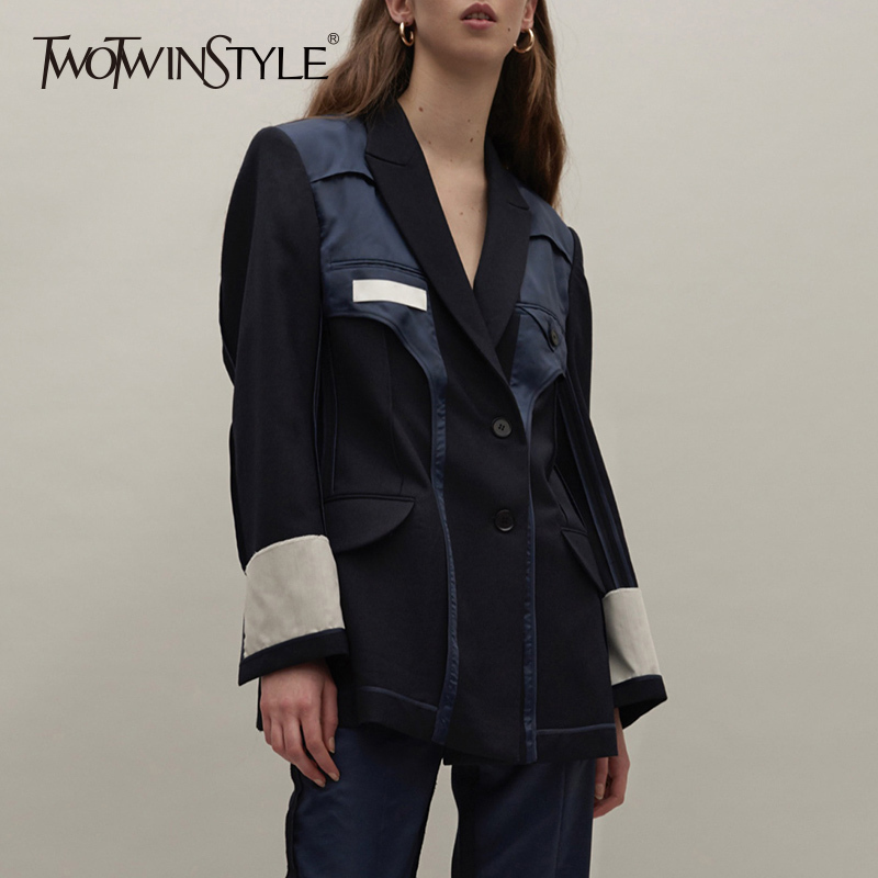 TWOTWINSTYLE Patchwork Women Blazer Jacket Lapel Long Sleeve Blazers Coat Tops Female Fashion Clothes England Style 2020 Autumn