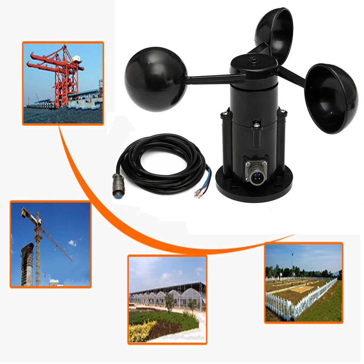 New  0-5V Voltage Wind Speed Sensor 360 degree Anemometer Three Cups Aluminium Alloyed Digital Pulse Signal Output 4 20ma 0 5v 0 10v wind direction sensor anemometer small weather station parts from factory