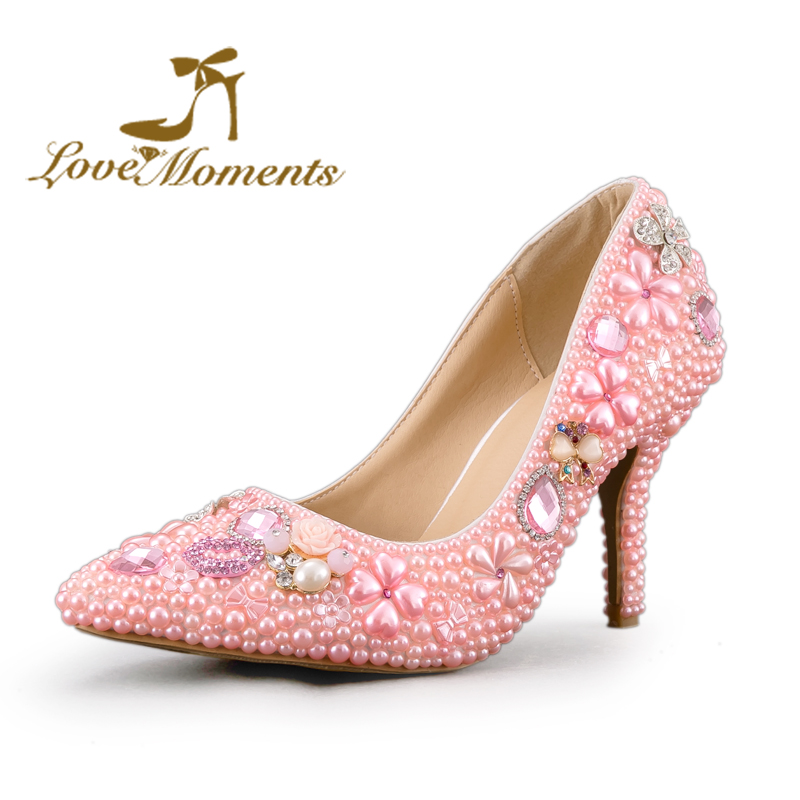 Handmade bridal high heel Pointed Toe lady  wedding shoes women pumps pink/red/whtie pearl rhinestone Sexy Style party shoes czrbt women pumps fashion high heels sexy metal rhinestone flower shoes pointed toe high heel bridal wedding shoes plus size 43
