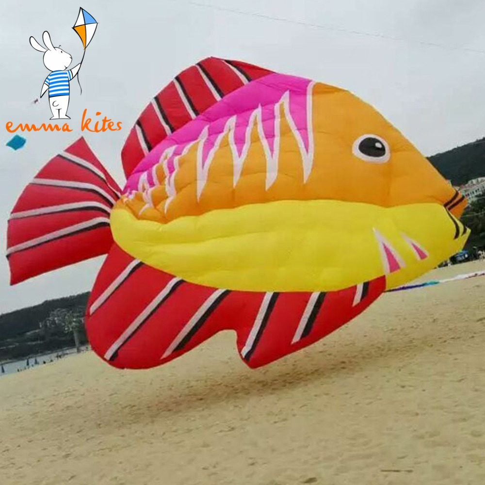 3m Inflatable Fish Kite 4 Colors Beach Kite Flying For Show Outdoor Activity 16 colors x vented outdoor playing quad line stunt kite 4 lines beach flying sport kite with 25m line 2pcs handles