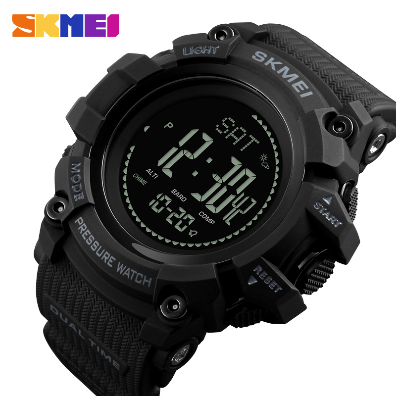 SKMEI Luxury Pedometer Calories Digital Wristwatches Thermometer Compass Altimeter Men Sports Watches Relogio Masculino skmei outdoor sports watches fashion compass altimeter barometer thermometer digital watch men hiking wristwatches relogio