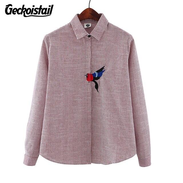 9c7a684720ac7 Geckoistail Mulher Blusa Listrada de Algodão Pássaro Bordado Camisa de  Manga Comprida Camisa Femininas Bordado Animais