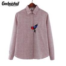 Geckoistail Woman Striped Blouse Cotton Bird Embroidery Shirt Long Sleeve Femininas Bordado Animal Camisa New Fashion Tops