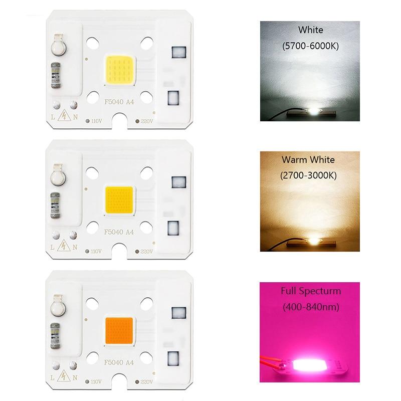 COB LED Lamp Chip Bulb No Need Driver Smart IC LED Grow Light AC 110V 220V 10W Warm White Full Specturm Spotlight Indoor LED DIY in LED Bulbs Tubes from Lights Lighting