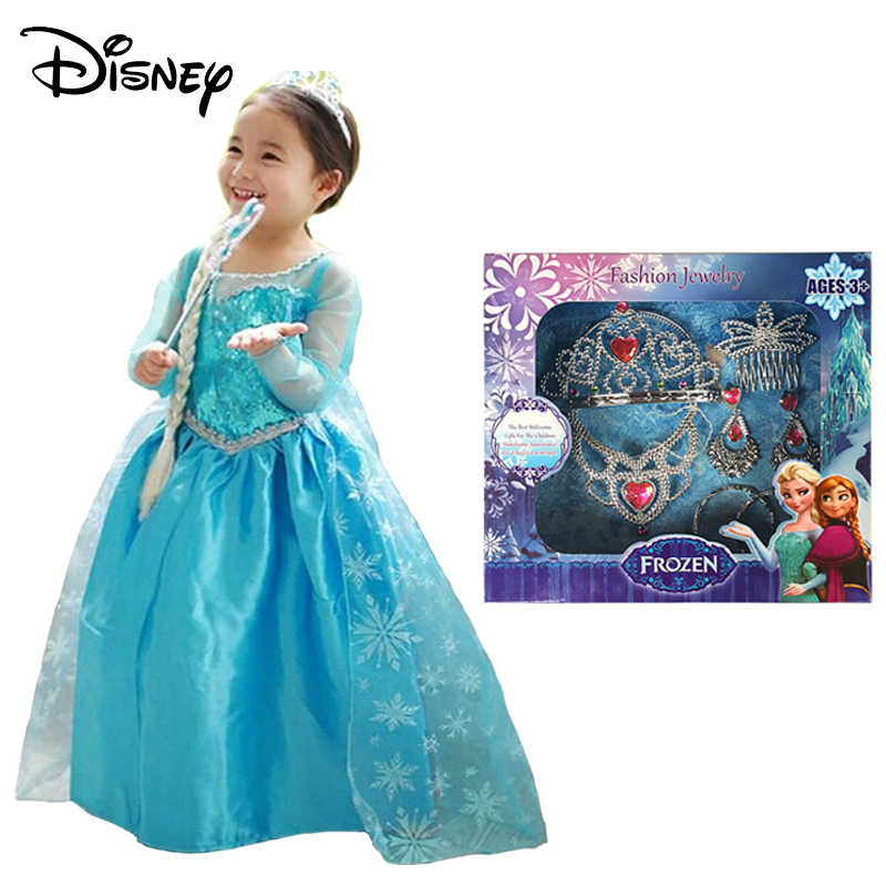 4dd0734f43b72 ... Disney Frozen Girl Anna Dress up Costume Children Flower Print Princess  Party Cosplay Fancy Dress with ...