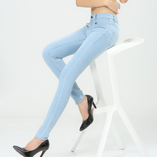 Spring And Autumn Outfit Size Women Jeans Waist Slimming Feet Pencil Blue Women Jeans  Women Long Pants