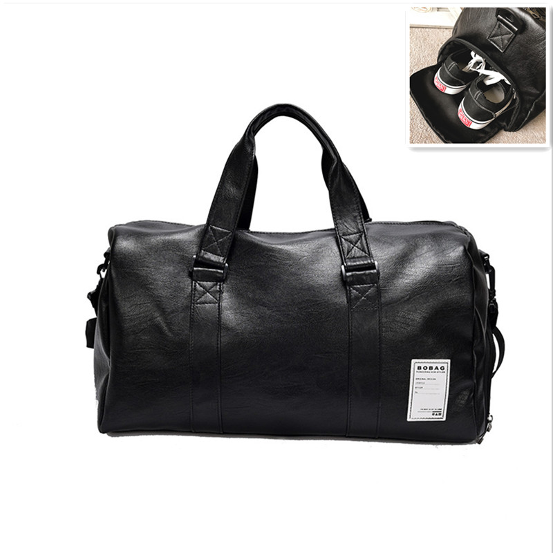 83a9eb75bcda Outdoor Mens Sports Bag PU Leather Gym Shoulder Bags Handbags For Fitness  Multifunction Travel Sport Gymnastics Pouch