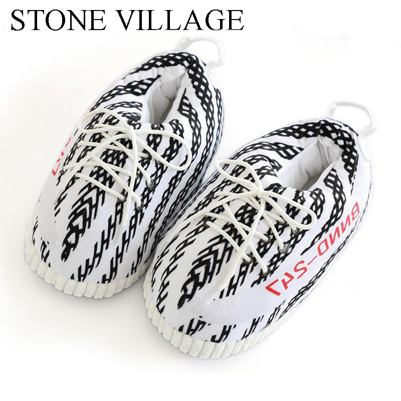 Sneaker Slippers Fat-Shoes Warm Cotton Women Cut Indoor One-Size Striped 35-43 title=