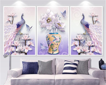 beibehang 3d wallpaper Three-dimensional relief modern minimalist peacock Magnolia Nordic triple decorative painting wall paper