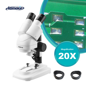 AOMEKIE 20X Binocular Stereo Microscope Top LED Illumination PCB Solder Phone Repair Tool Wide Field Eyepieces with Eyecups