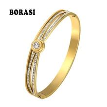 Bangles Jewelry Heart-Bracelets Rhinestone Austrian BORASI Charm Hand Crystal Gold-Color
