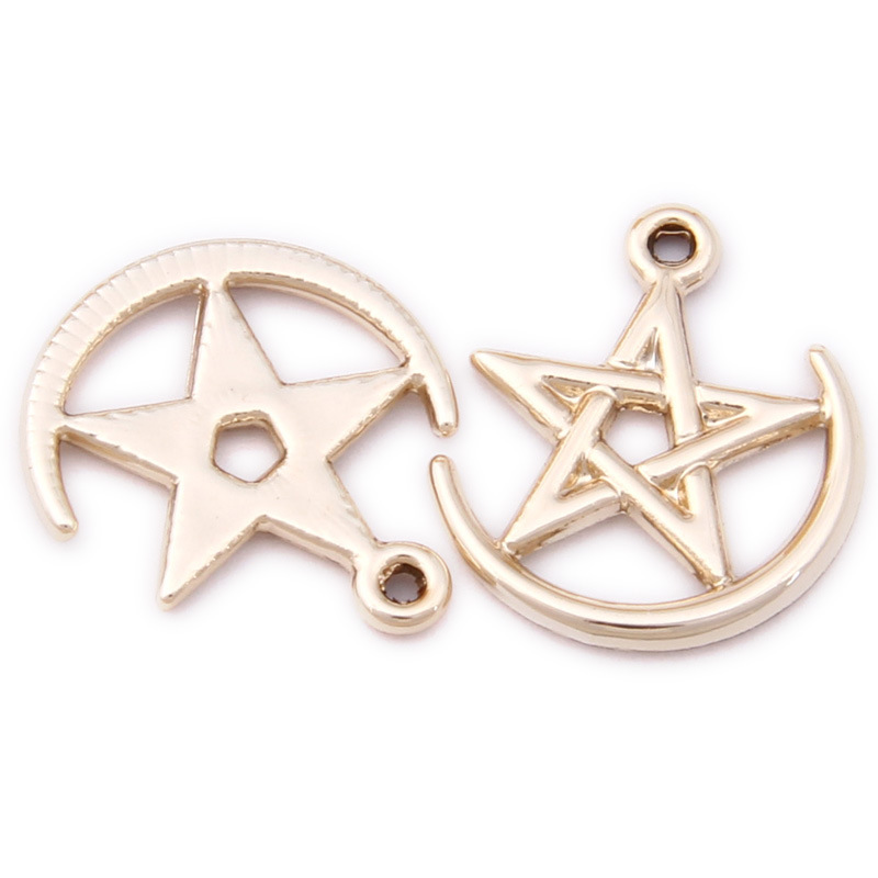 Free Shipping 100pcs 17*19MM Bright Gold Color Metal Alloy Hollow Out Kawaii Star Pendant Charms Fit Earring Necklace Ornaments