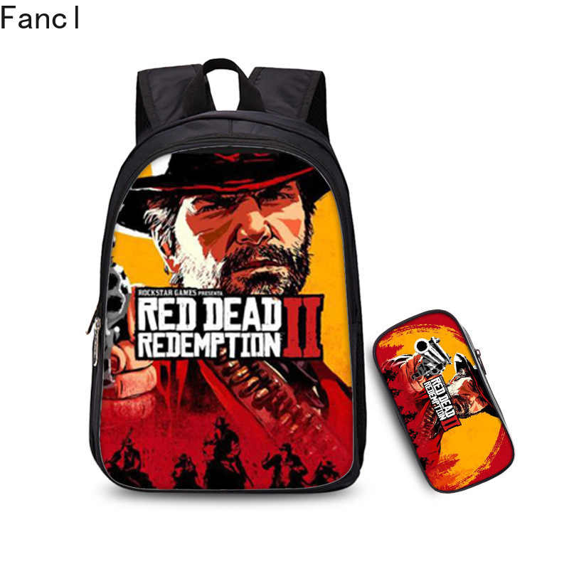 2Pcs/Sets Galaxy Red Dead Redemption Backpack School Bags for Teenage Boys Girls Daily Laptop Backpack Travel Bags