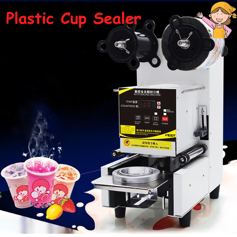 Automatic Sealing Machine Milk Tea Cup Sealer for Soya-Bean Milk Pearl Tea Shop Commercial Plastic Cup Sealing Machine FW-95 assam black tea special grade premium red tea arbitraging pearl milk tea 500g health care set the products for weight loss