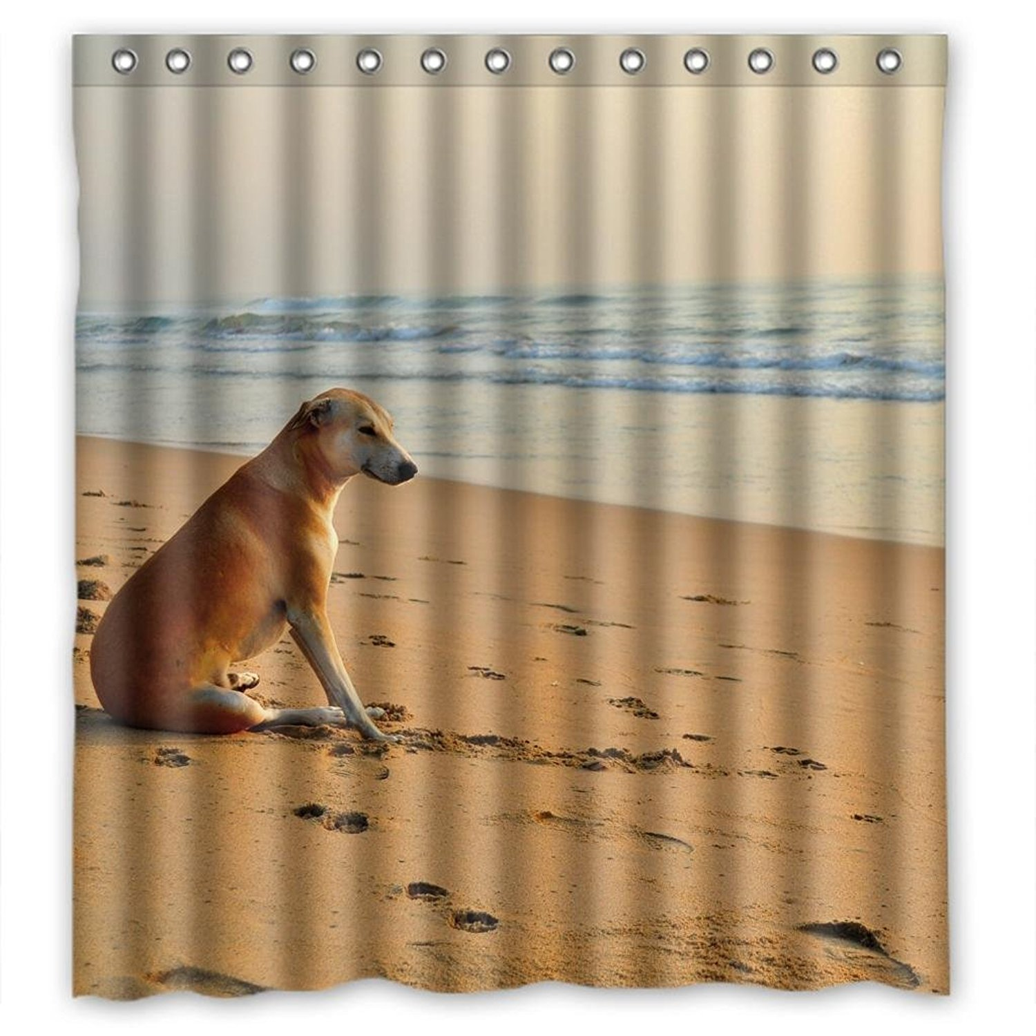 Attractive Beach Dog Personalized Fabric Shower Curtain 66(W)X72(H)