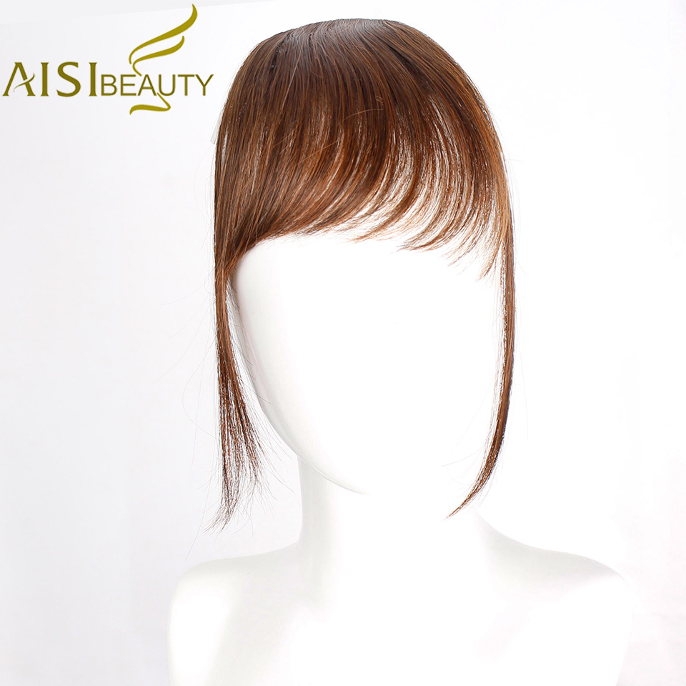 AISI BEAUTY Natural Fake Bangs Flase Hair Clip On Bangs Hairpieces Fringe Synthetic Hair Extensions For Women Blunt Blonde