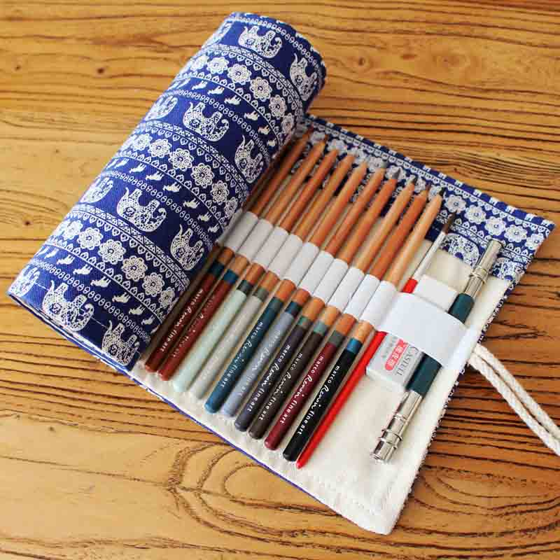 Embroidery Canvas Pencil Bag Penalties 36/48/72 Holes Pencil Case Box Roll Pen Wrap Stationery Pencil Pouch School Supplies Gift 36 48 72 holes fold pencil case canvas pencil box zipper solid color pencil bag cute sketch pen case for student school gifts