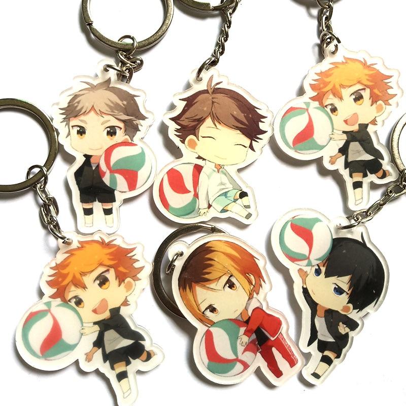 1pcs  Anime Haikyu Nekoma High School Volleyball Kozume Kenma Kiyoko Pendant Keychain Keyrings Portachiavi Kulcstarto