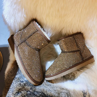 Casual Shoes Women Fashion Brand Warm Snow Boots botas mujer Rhinestone Lady chaussure Winter Female footware Bling Crystal Shoe