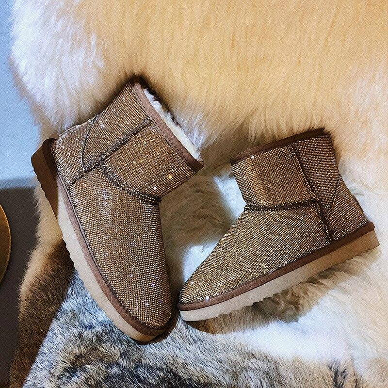 f9f0fe14d9d plata Calzado Lady Negro Zapatos Zapatilla Botas Casuales De Rhinestone  Bling Para Marca Mujer Zapato Nieve Caliente Invierno La Cristal Moda ...