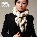 Female fur smallerone ruffle hem mink hair thermal knitted scarf muffler scarf