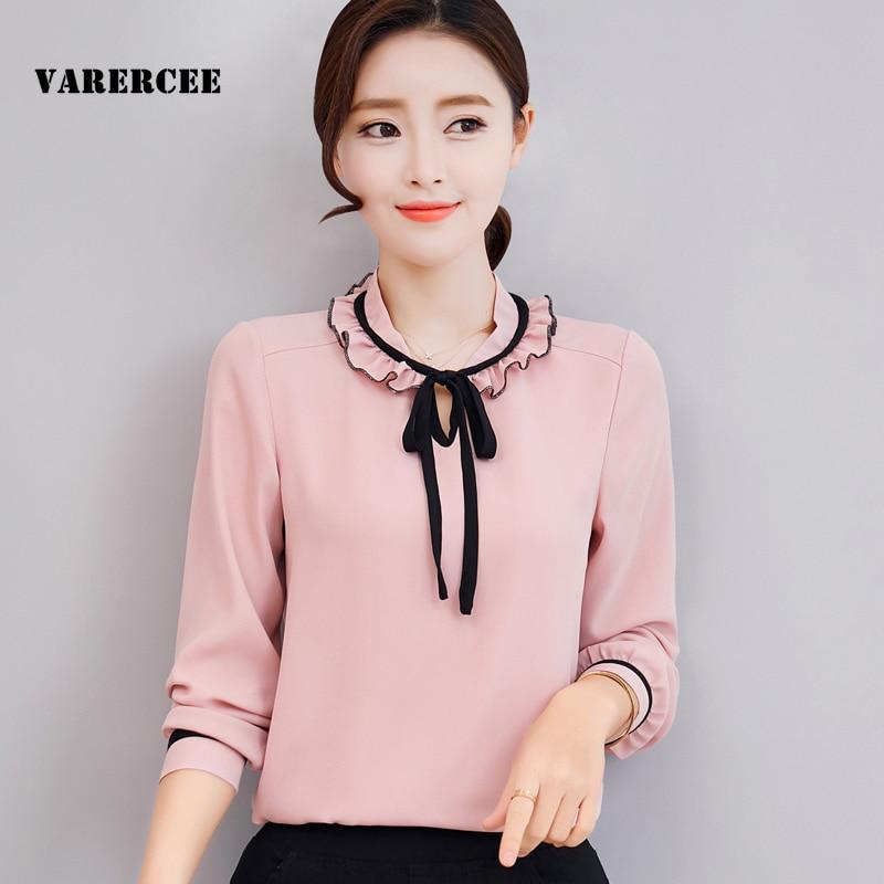 VARERCEE Plus Size Chiffon Blouse Shirts Women Summer 2018 Ruffled neck Full Sleeve Blouses ladies Casual Bow Tops Tees Female
