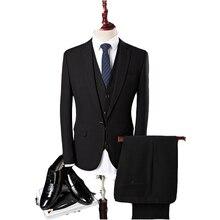 2017 new arrival four seasons style men boutique suits fashion business casual solid slim three piece suit coat size S-3XL
