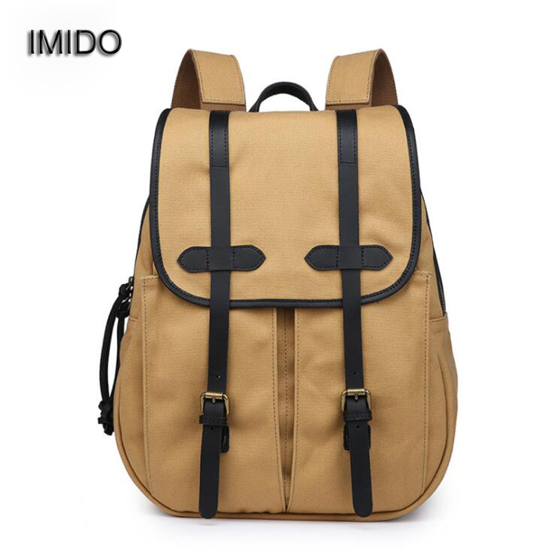 IMIDO Men and Women Backpack Vintage Canvas Backpack Schoolbag Travel Bags Large High Quality School Bags Leisure Mochila SLD109 anime rick and morty backpack schoolbag casual teenagers men women student canvas school bags travel bags knapsack mochila