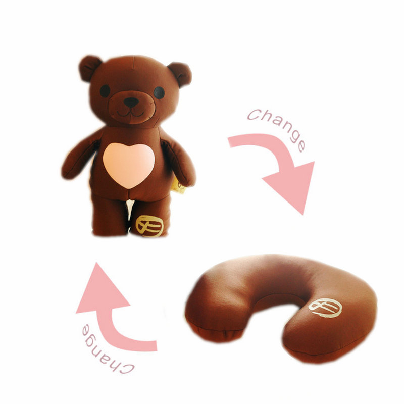 Cute Nanoparticle stuffed teddy bear toy doll can be change into a plane travel neck pillow love gifts for girlfriend