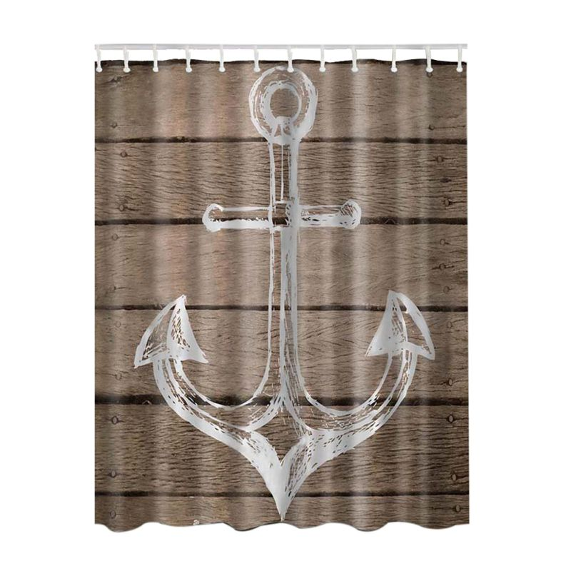 3D Rustic Wood Seascape Picture Print Bathroom Set Fabric Shower Curtain with Hooks Decor Collection Nautical Anchor