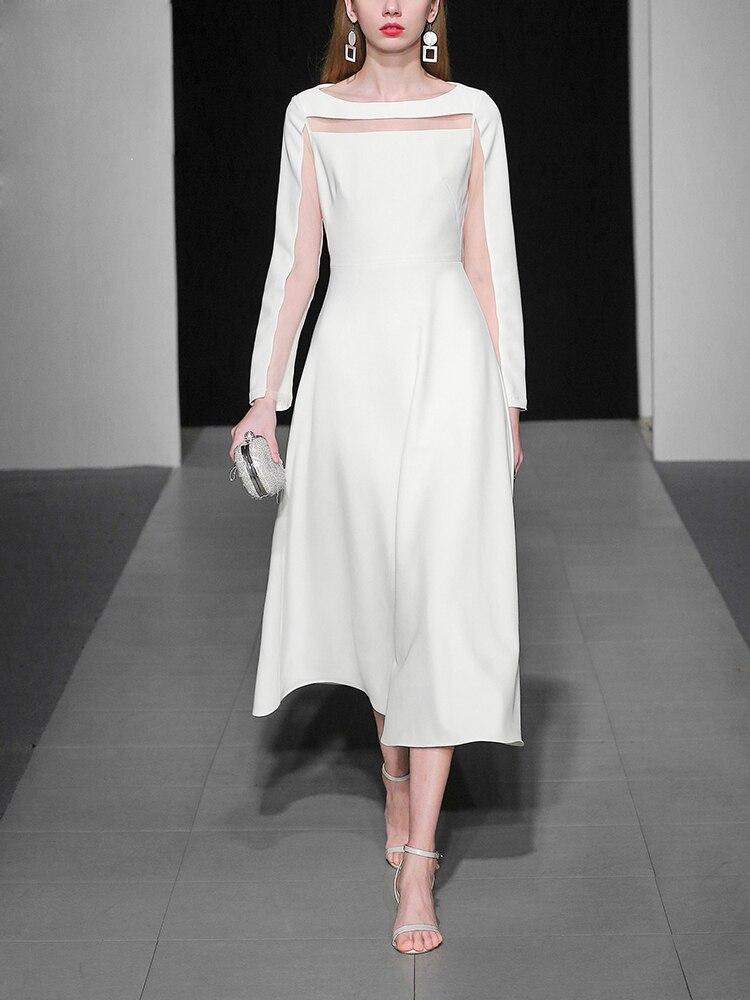 18 Fashion Autumn Ladies Solid Mid-calf A-Line Dress O-Neck Long Sleeve Persperctive Dress Women High Waist A-Line Dress C1818 3