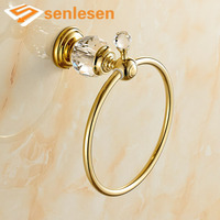 Wholesale And Retail Free Shipping Solid Brass Bathroom Towel Rind Hanger Crystal Hanger Golden Finish Towel