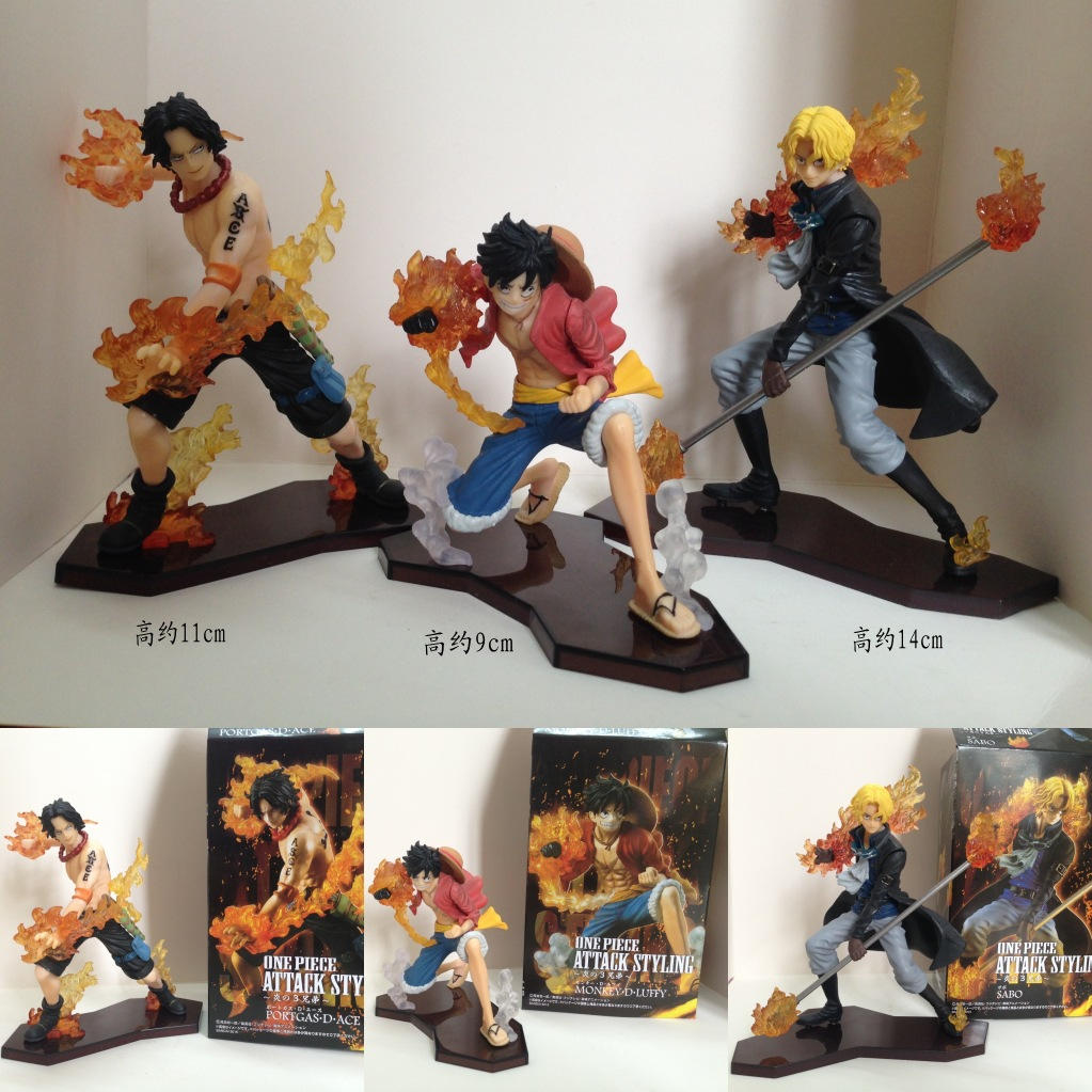 Anime One Piece Attack Styling Luffy + Sabo + Ace PVC Action Figures Collectible Model Toys 3pcs/set 9-13.5cm KT1917 one piece sabo pvc action figure toy sabo model collections toy gift doll 16cm anime toys free shipping