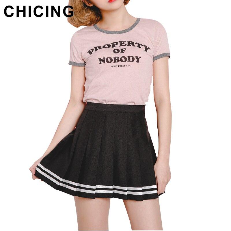 CHICING Fashion Striped Print Mini Skirts Women 2017 ...