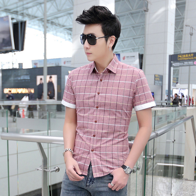 New Summer Men Shirts Mens Plaid Cotton Short Sleeve Man Dress Business Casual