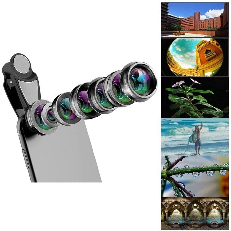 Image 2 - Объектив камеры телефона, 7 в 1 Объективы для телефона Комплект для Iphone и Android, рыбий глаз Широкоугольный макро объектив круговой поляризационный фильтр калейдоскоп и 2X Te-in Объектив фотокамеры from Бытовая электроника